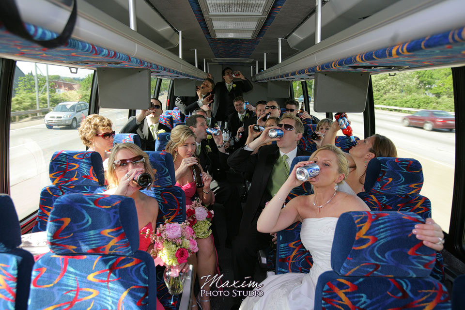 Fountain Square Cincinnati Wedding Party Bus