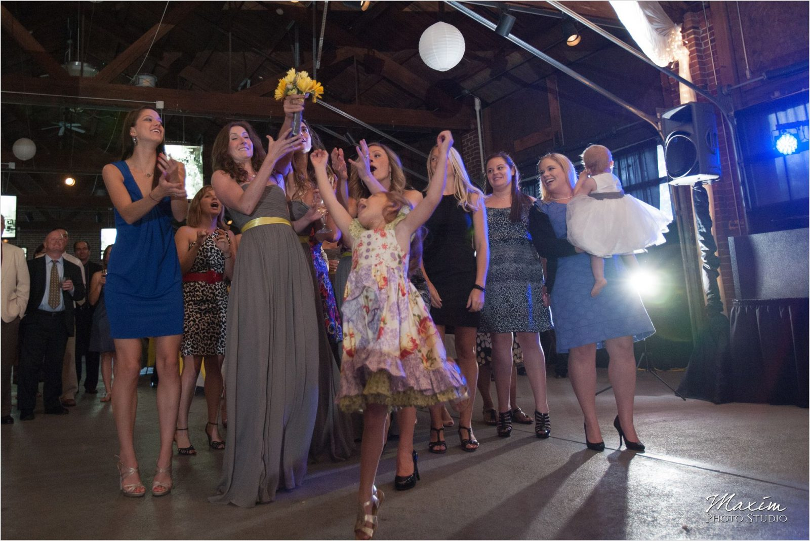 Top of the Market Dayton Ohio Wedding Reception Bouquet Toss
