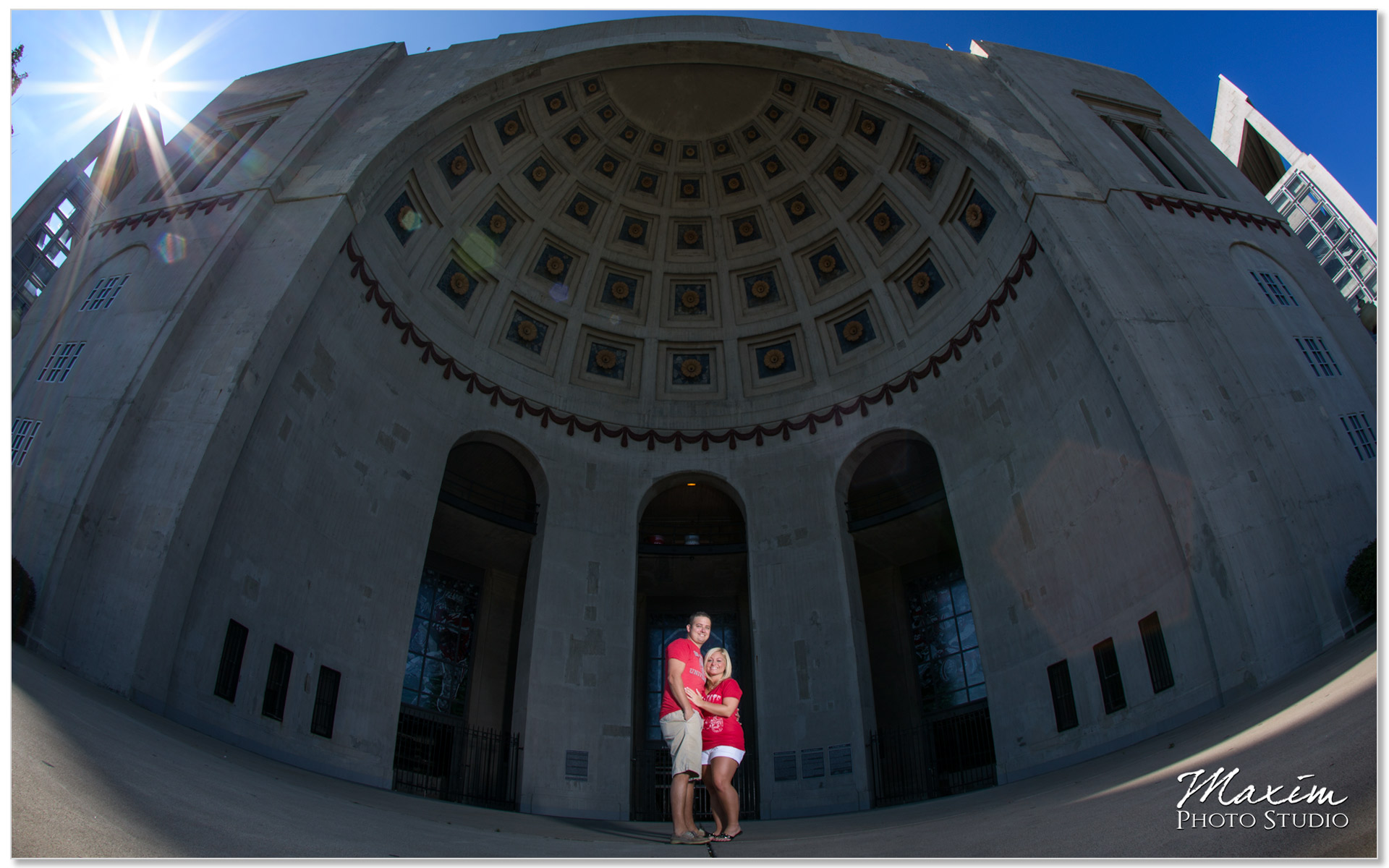Ohio Stadium Columbus Ohio Engagement sun burst