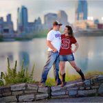 Cincinnati skyline engagement roebling bridge