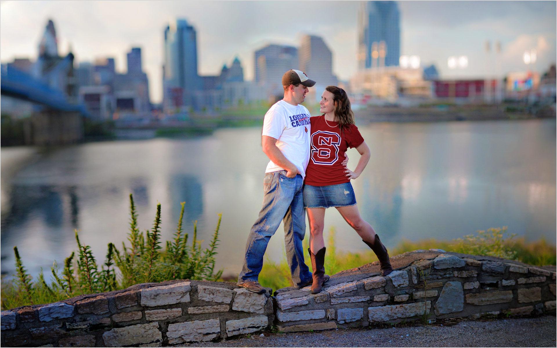 Cincinnati skyline engagement roebling bridge