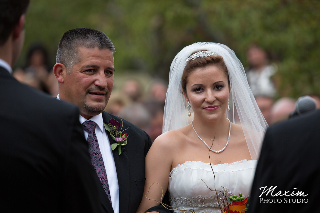 Bride and father at Cox Arboretum Wedding