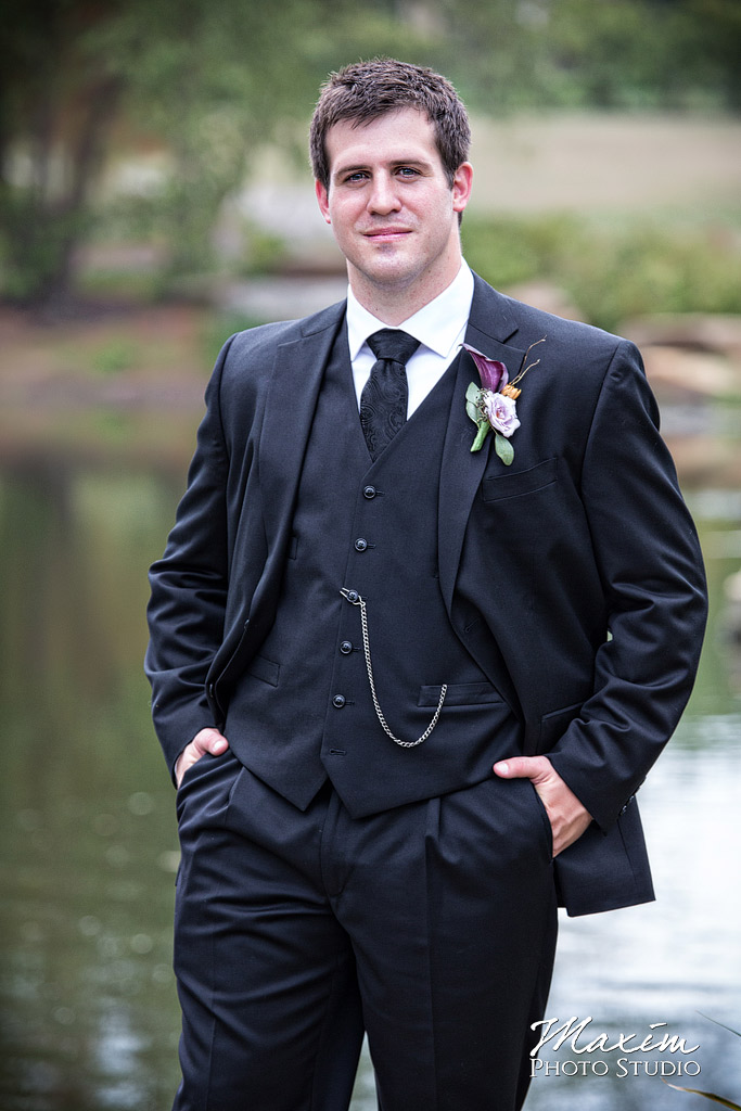 Groom at Cox Arboretum Dayton Ohio Wedding
