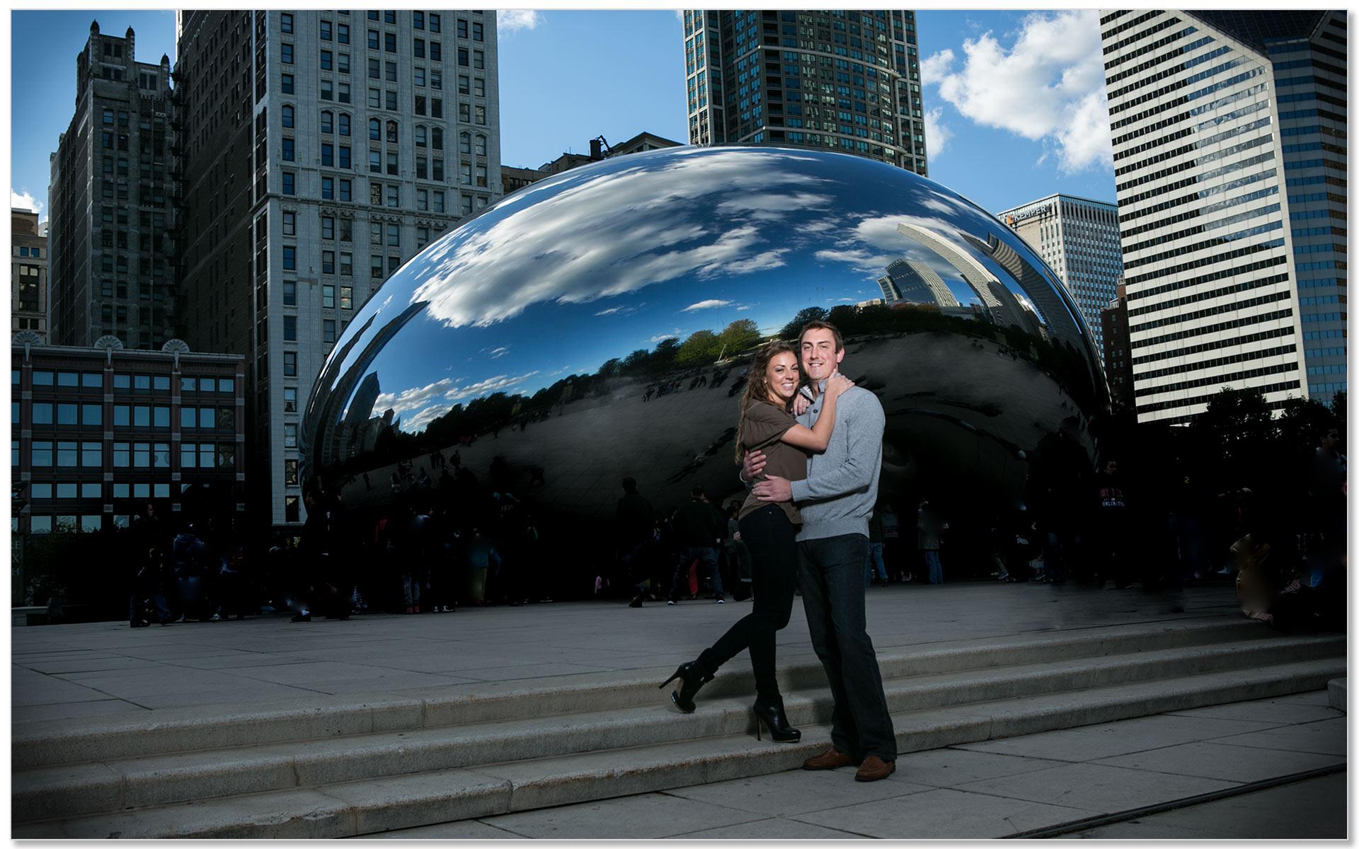 Downtown Chicago Bean Cincinnati Engagement Bride