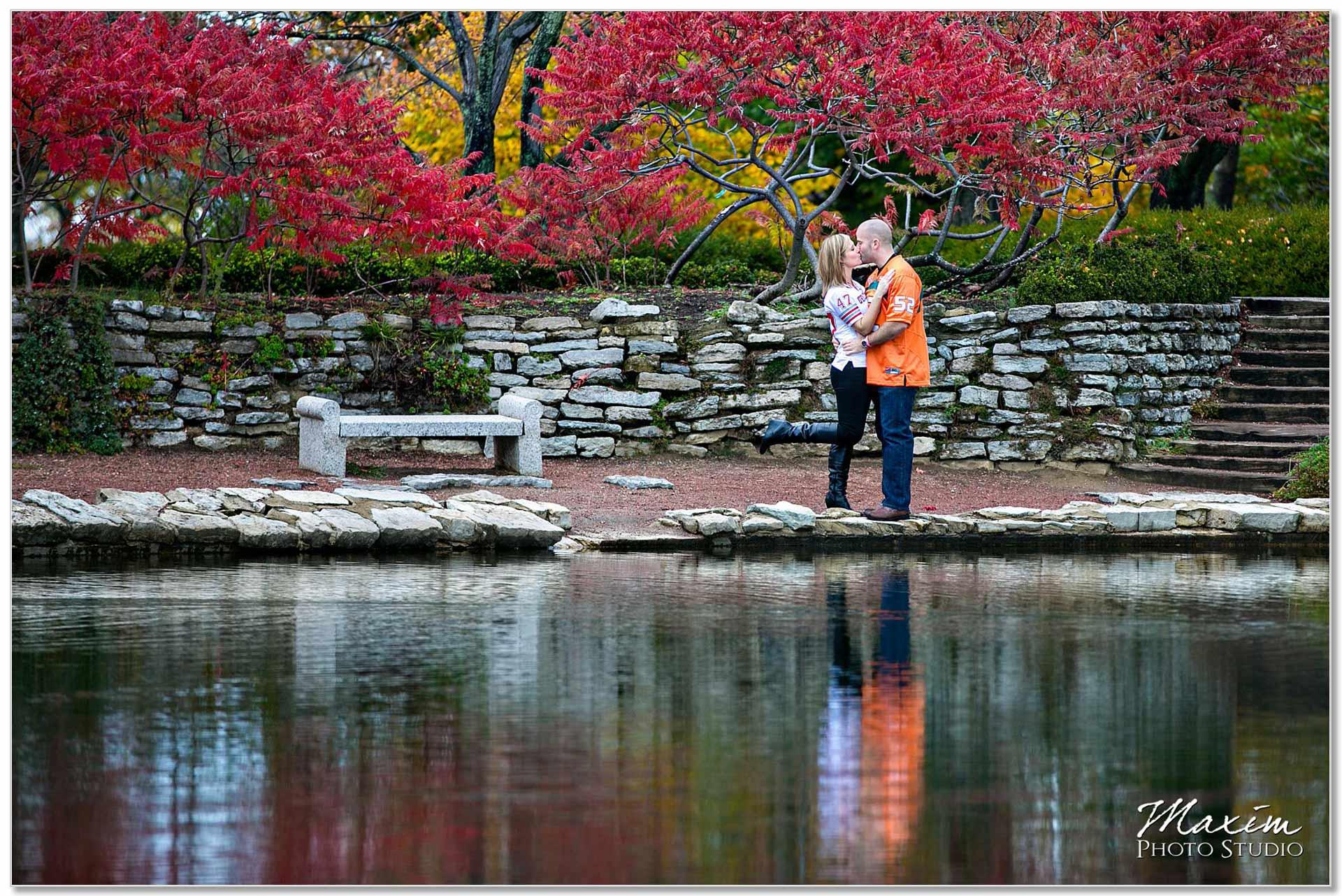 Cox Arboretum fall colors engagement Dayton Ohio reflection
