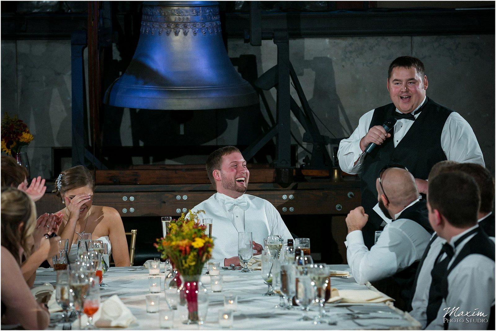 Best Cincinnati Wedding Photographer, The Bell Event Centre, Wedding Reception, Wedding Toasts