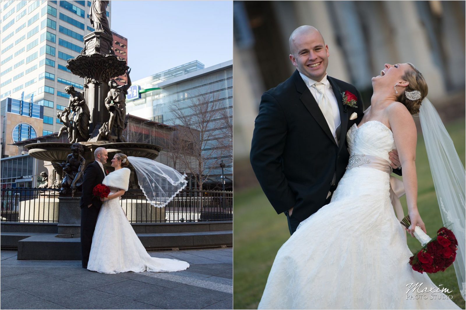 Fountain Square Cincinnati Wedding Bridal Portraits