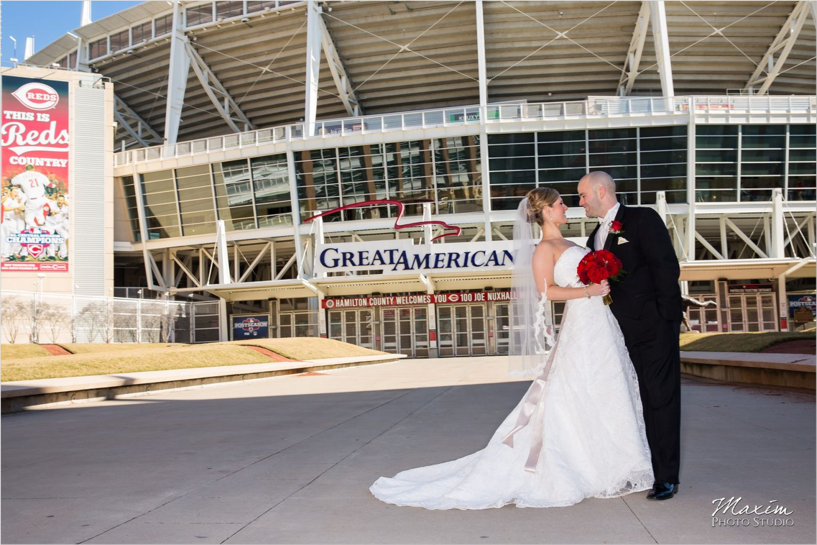 Bride Groom Great American Ballpark wedding