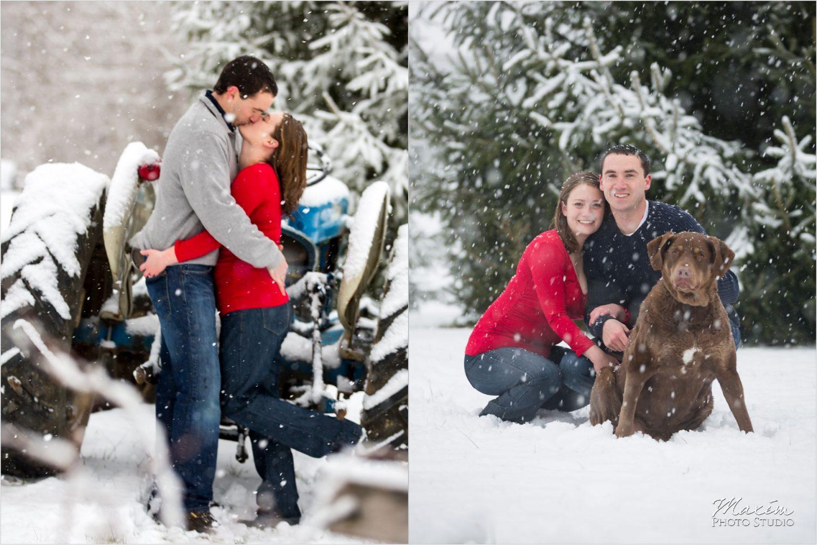 Loveland Cincinnati Ohio Snow engagement dog