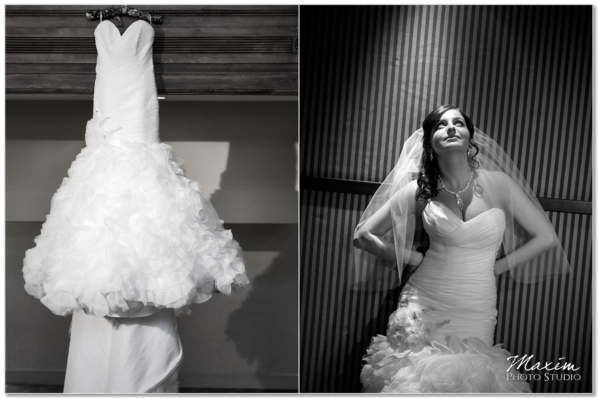 Cincinnatian Hotel bride preparations wedding dress
