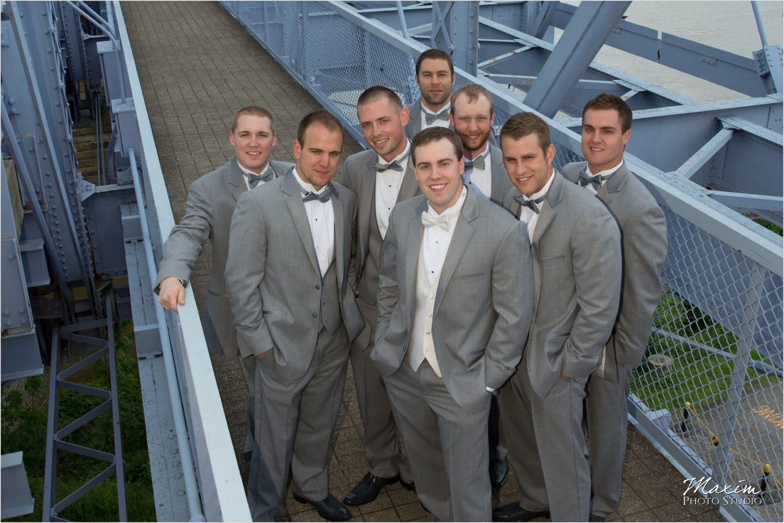 Purple People Bridge Groomsmen wedding
