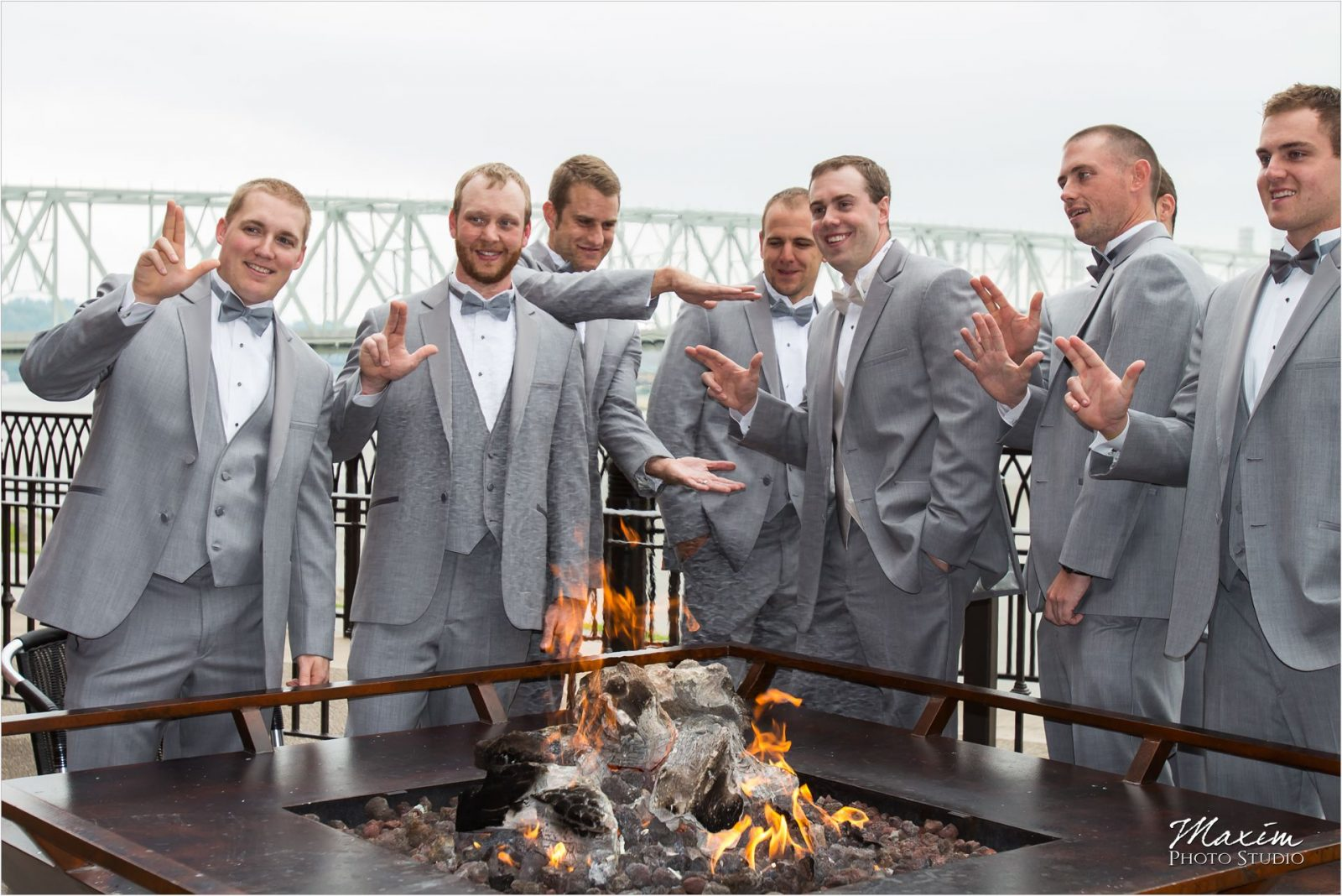 Newport on the Levee Cincinnati Wedding groomsmen pictures