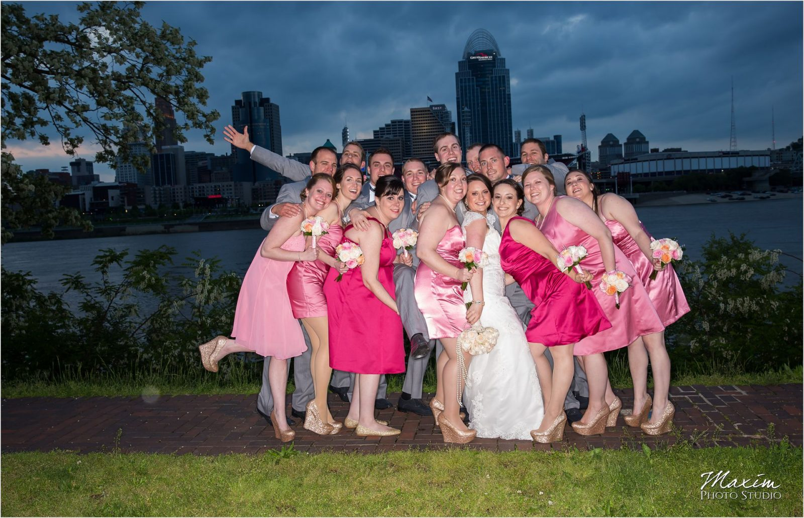 Cincinnati Skyline Wedding Bridal Party