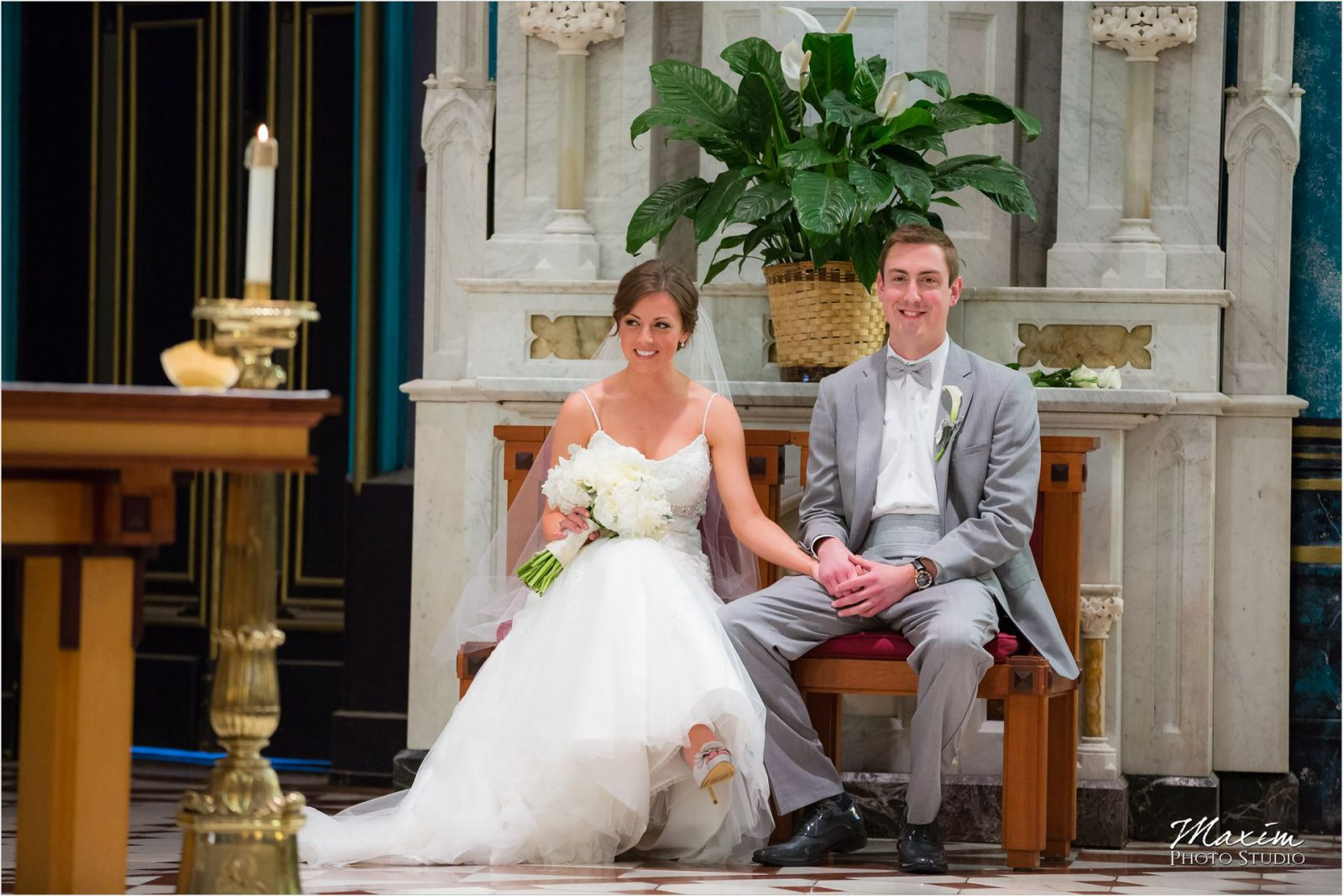 St Xavier Church Cincinnati Wedding Ceremony Bride Groom