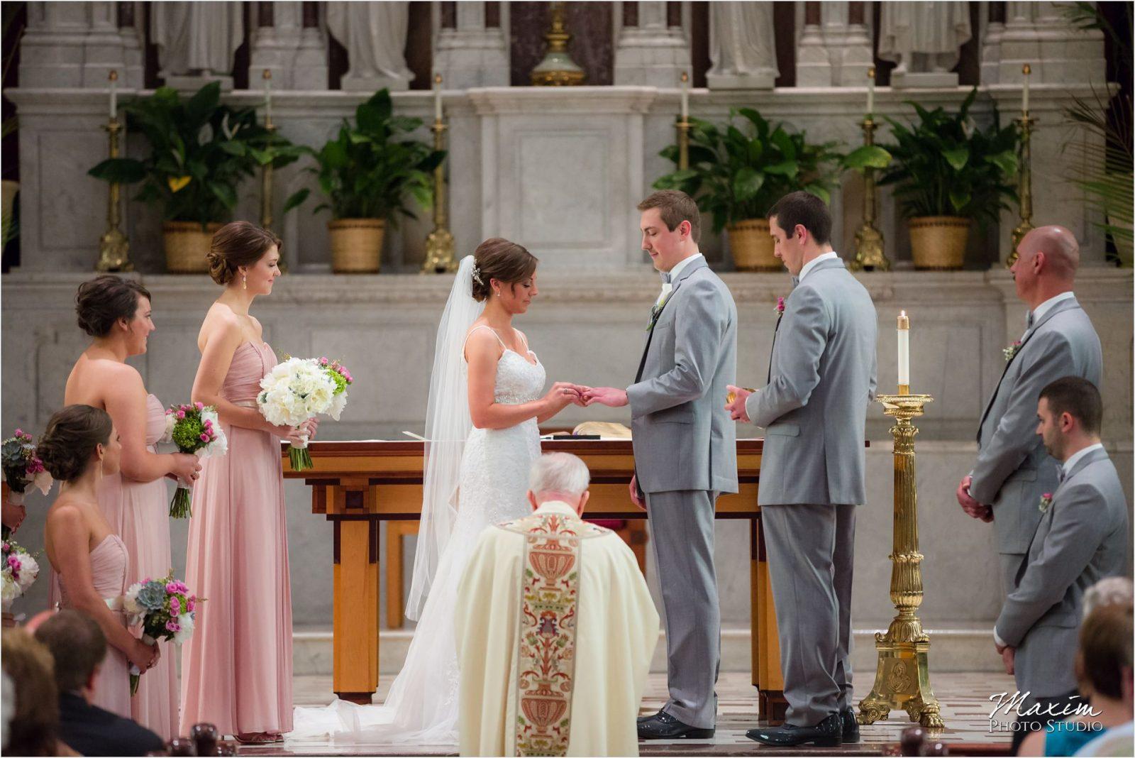St Xavier Church Cincinnati Wedding Ceremony Bride Groom