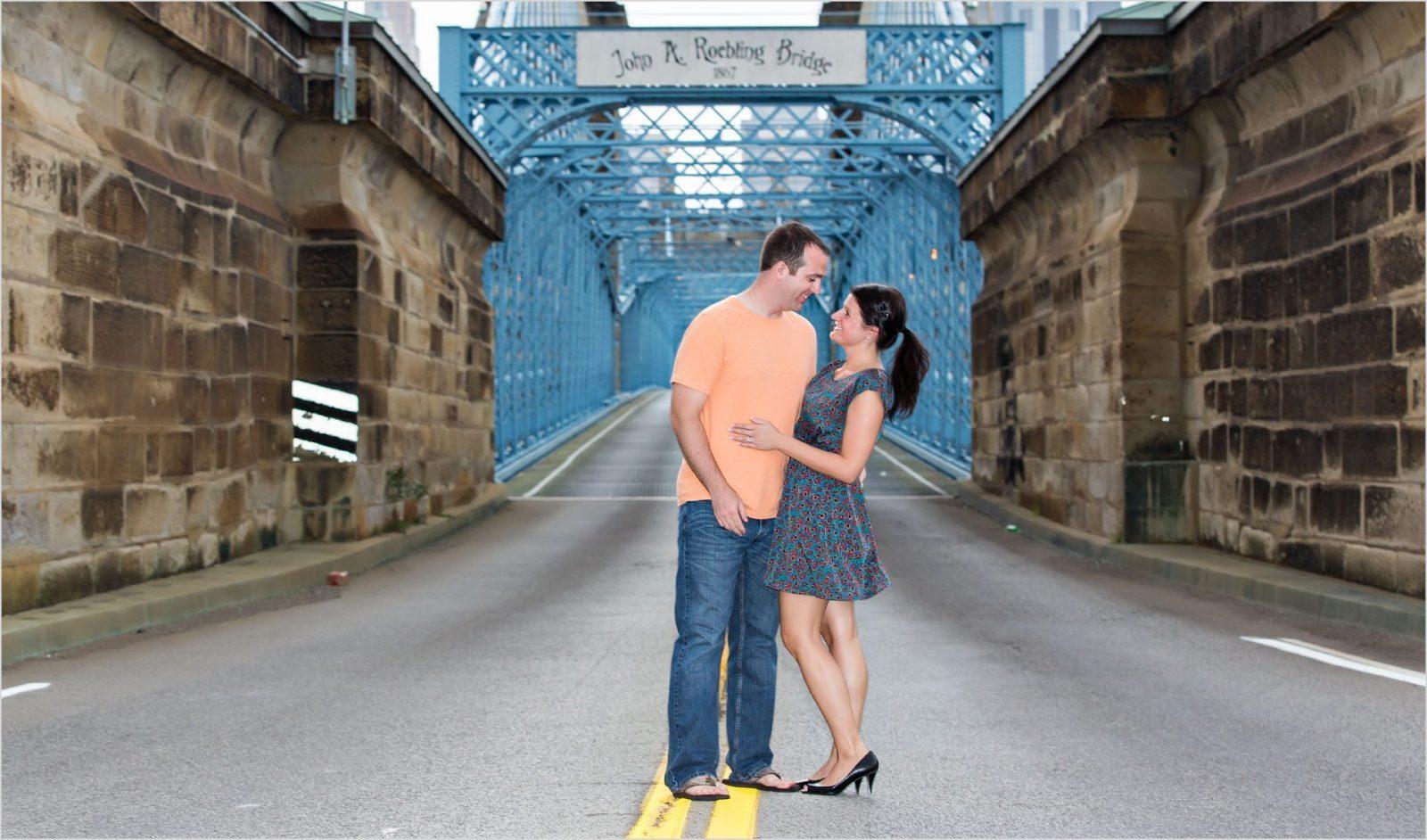 Cincinnati Wedding Photographers Roebling bridge engagement