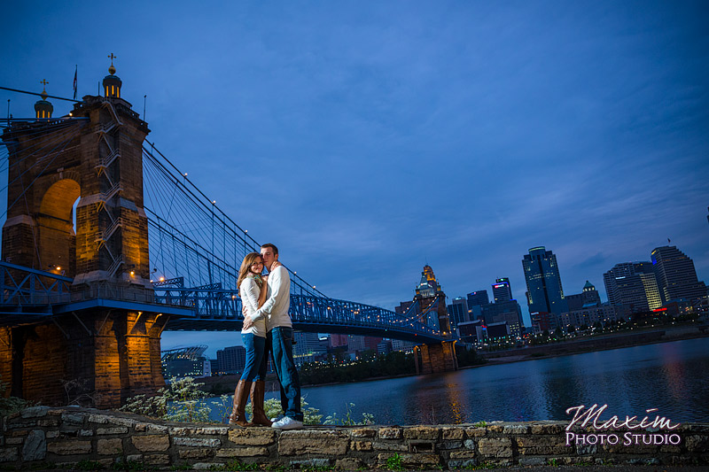 Roebling Bridge Cincinnati Skyline Engagement