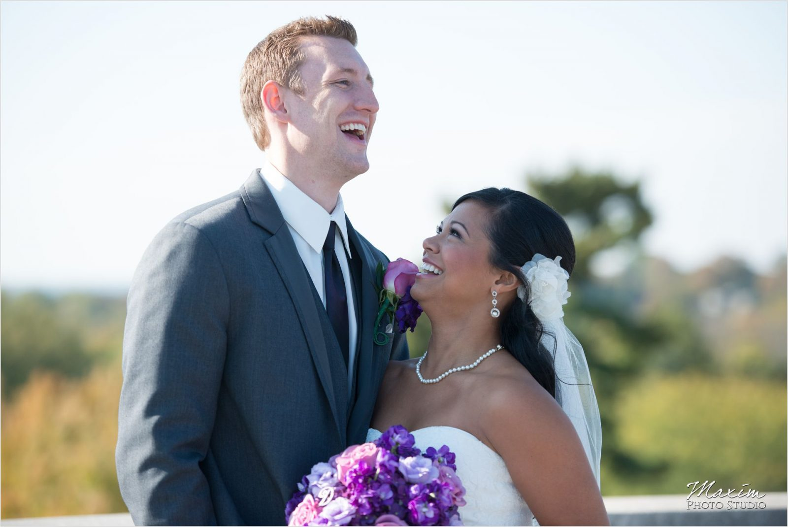 Ault Park Cincinnati Wedding Ceremony Bride Groom laughing