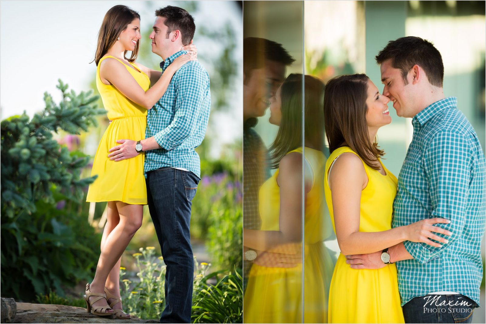 Cox Arboretum Dayton Ohio Engagement yellow dress reflection