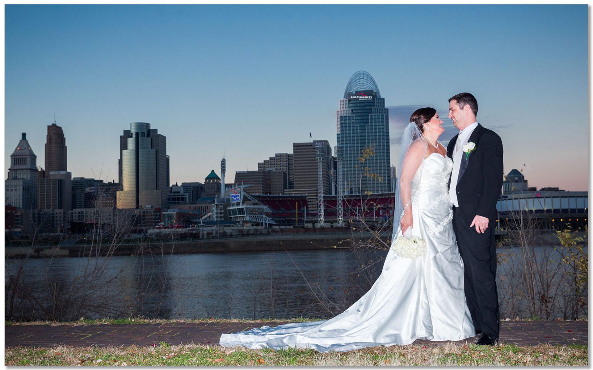 Cincinnati skyline wedding sunset