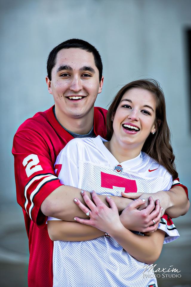 bride and groom at OSU wedding engagement
