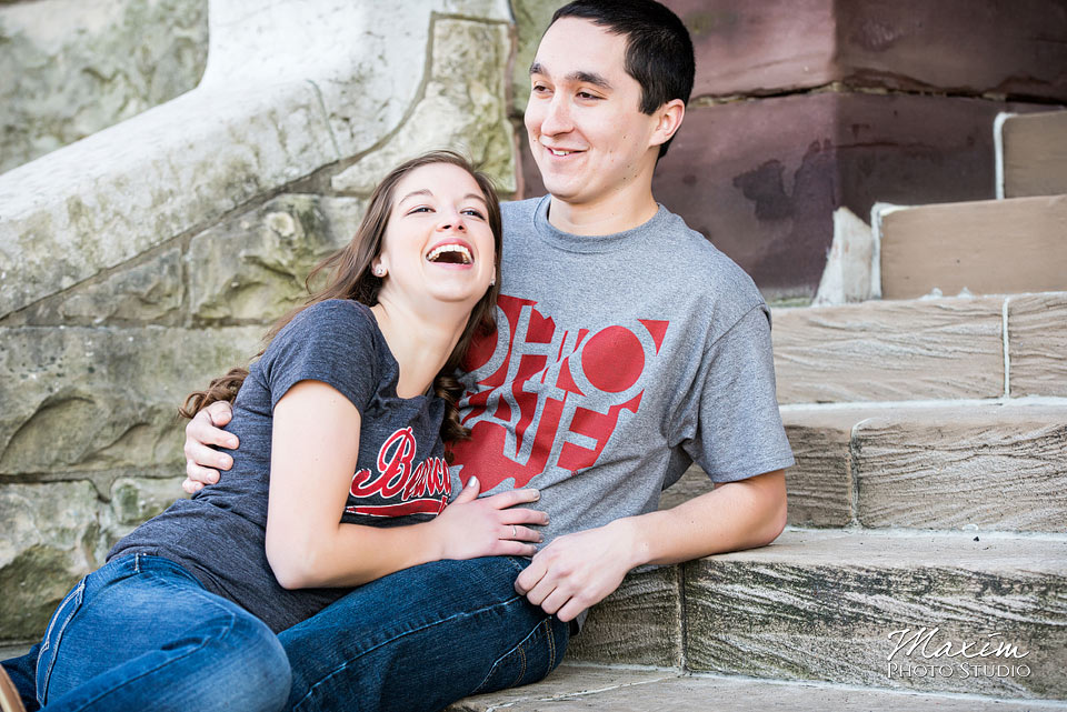 Ohio State University engagement couple laughing