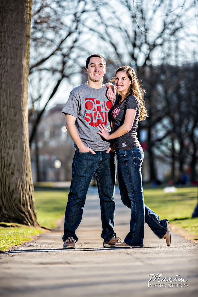 Off Camera Flash Engagement Photograph at Ohio State University