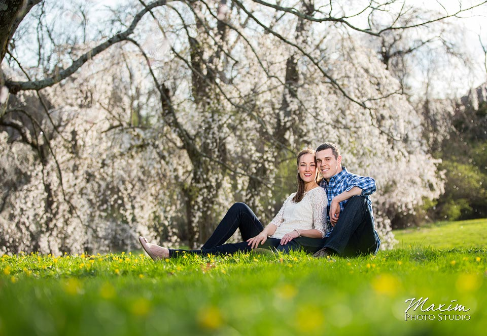 grass cherry blossoms ault park engagement
