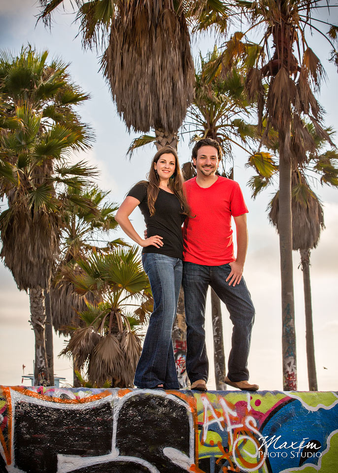 palm tree engagement, wedding engagement venice beach