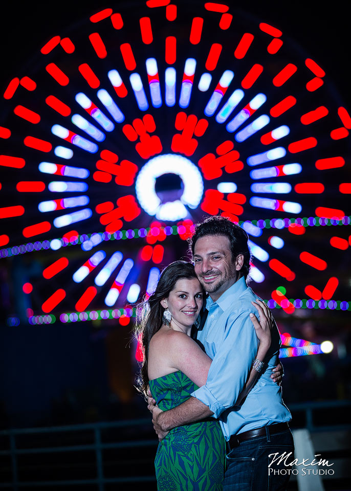 santa monica pier, los angeles engagement