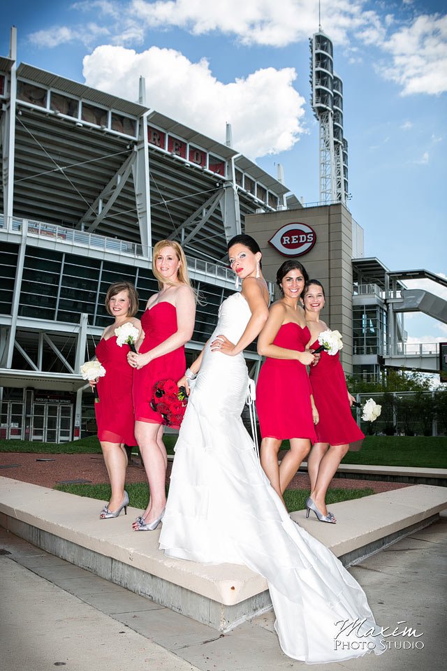 great american ballpark cincinnati wedding bridesmaids