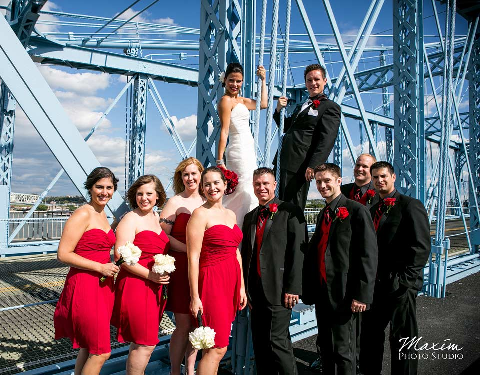 cincinnati bridal party on Purple People Bridge