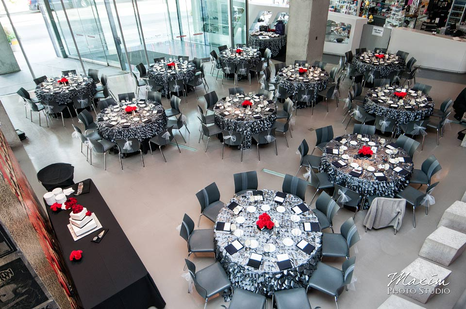 Contemporary Art Center wedding reception setup