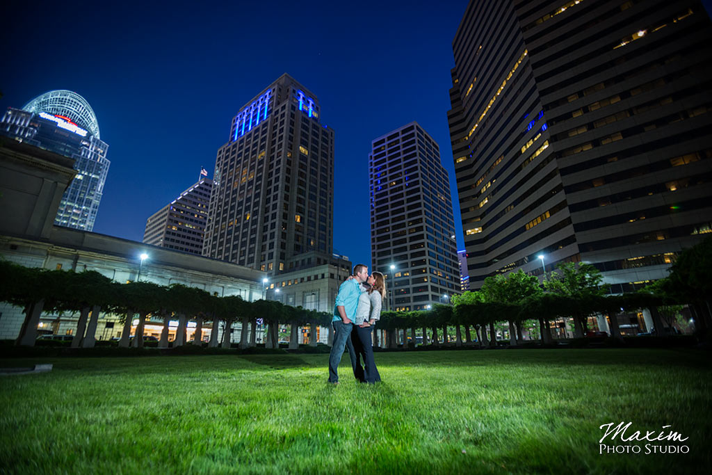 cincinnati after dark engagement photo