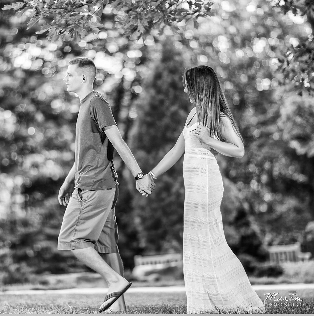Inniswood metro gardens columbus engagement black and white photography