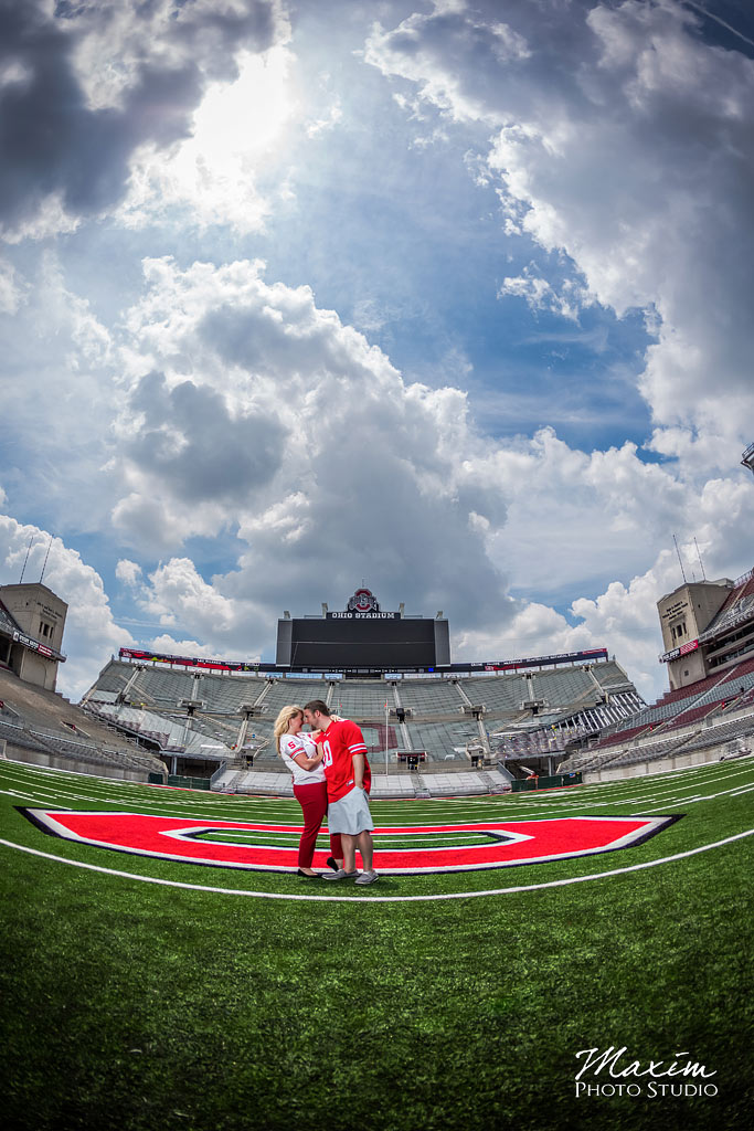 Ohio Stadium Wedding Engagement using off camera flash