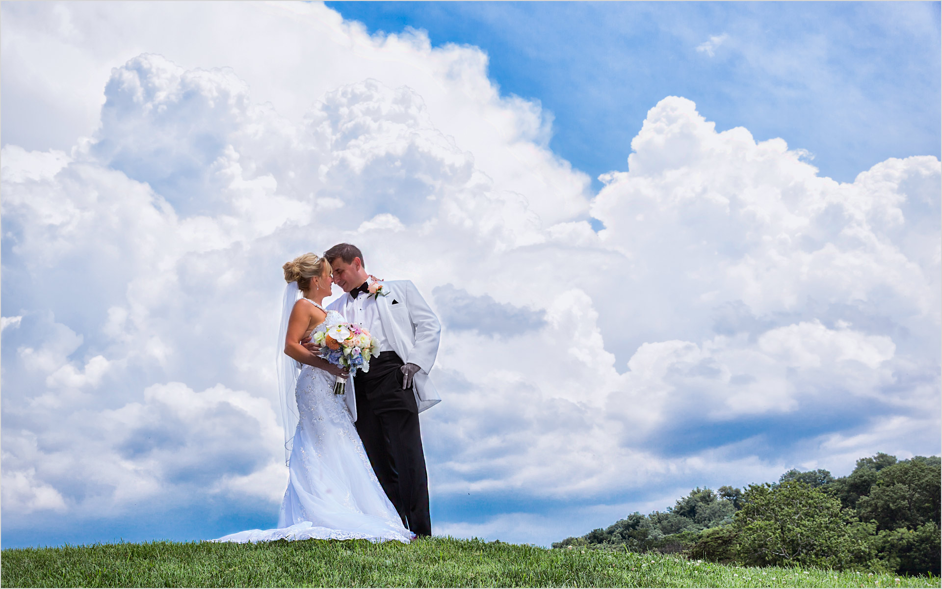 French House Cincinnati Wedding blue sky