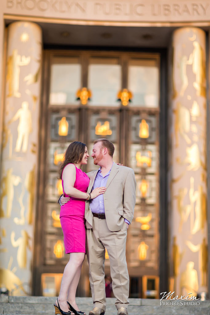 Brooklyn public library NYC engagement photography