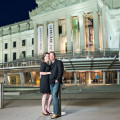 Brooklyn Museum of Art NYC nighttime engagement photo