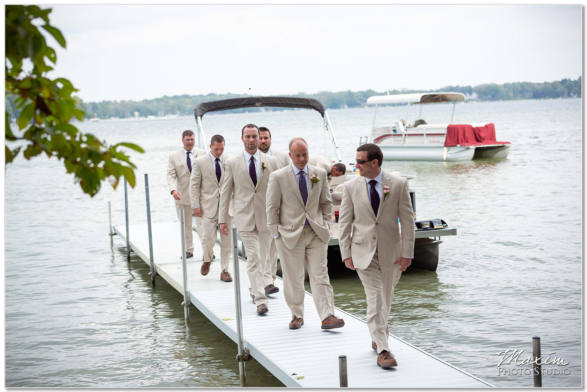 Clear Lake Kusota Island wedding ceremony groomsmen