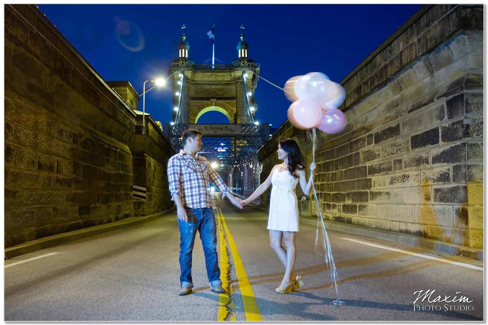 Roebling Bridge Cincinnati engagement balloons