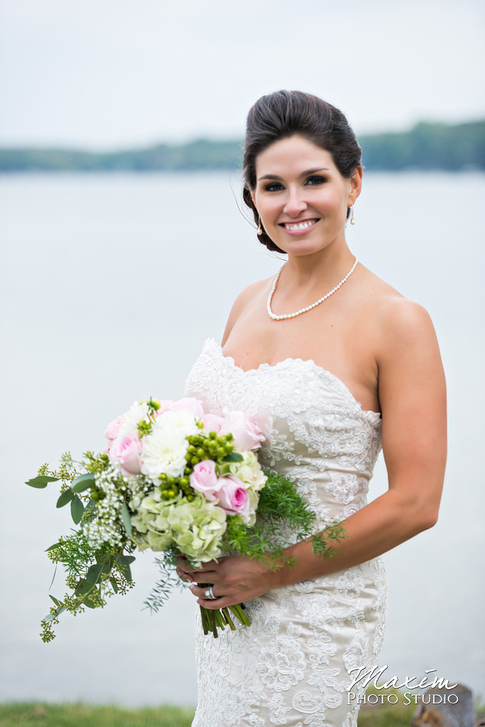 Kasota Island Clear Lake Indiana Wedding bride