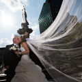 Fountain Square Cincinnati Wedding off Camera Flash