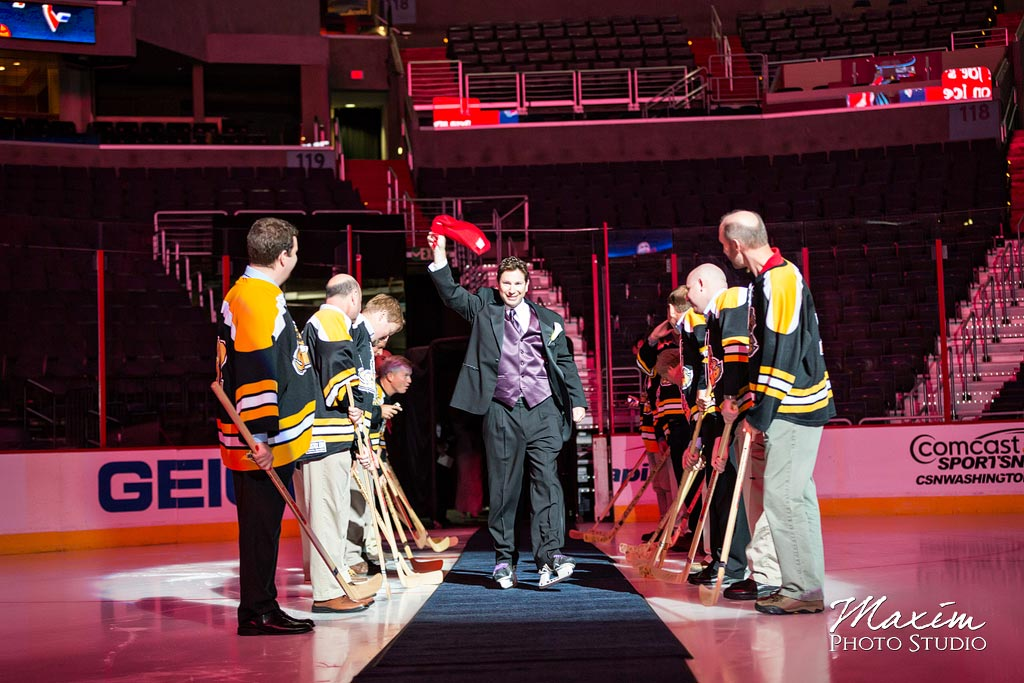 Verizon Center Ice Wedding groom introduction
