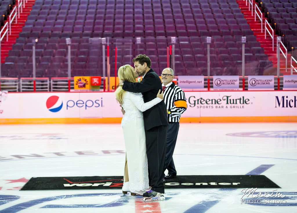 Verizon Center Wedding first kiss