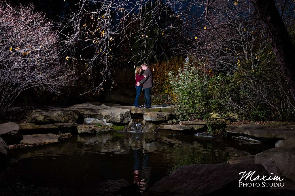 Night time Cox Arboretum Engagement Photography