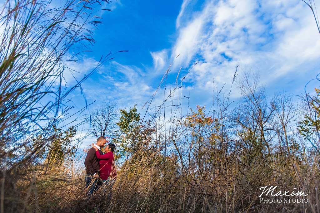 Cox Arboretum Blue sky engagement