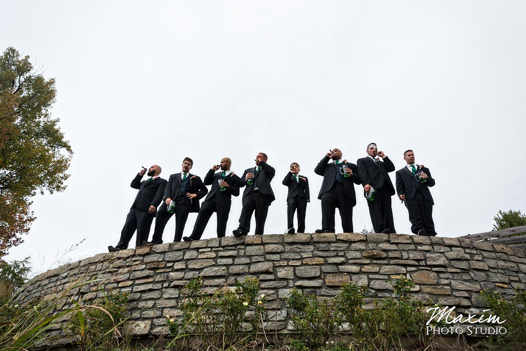 Glenwood Gardens groomsmen wedding day picture