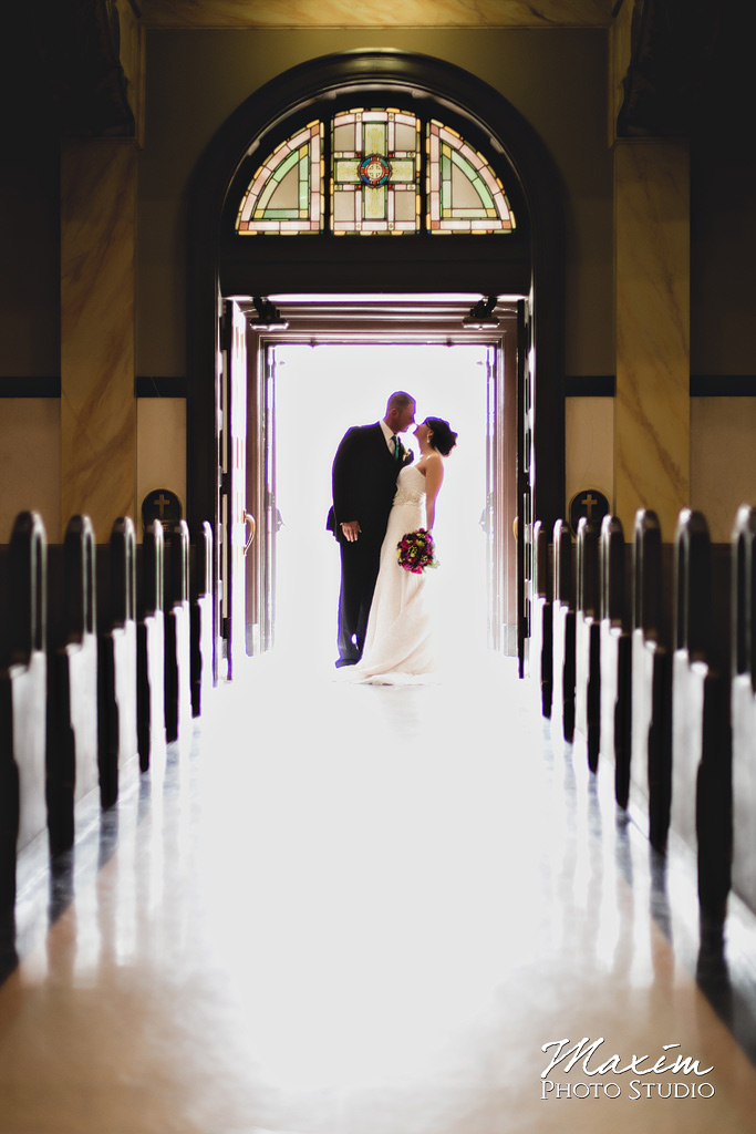 Bride groom Lake Lyndsey wedding church portrait