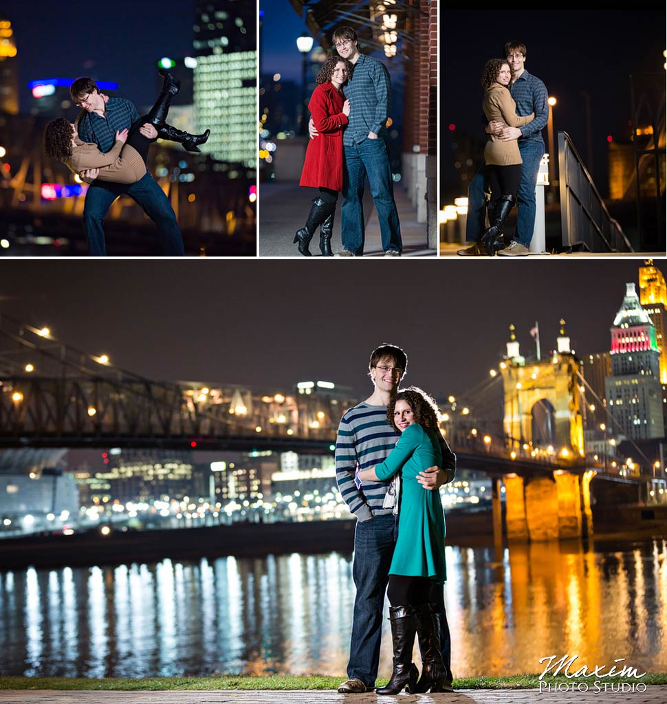 Cincinnati skyline Engagement at night